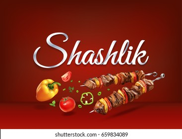Roasted on fire Shashlik food. Realistic vector illustration of traditional cooking of steaks, barbecue, kebab and BBQ. Grilled and skewer meat and vegetables for parties.