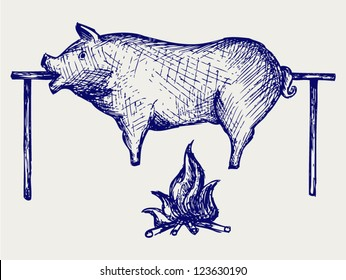 Roasted pig. Doodle style
