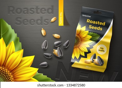 Roasted sunflower seeds. Package design. Advertising banner. Dark wooden background. Realistic vector illustration