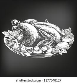 Roasted turkey, chicken,with ingredients hand drawn vector illustration sketch. chalk menu. retro style