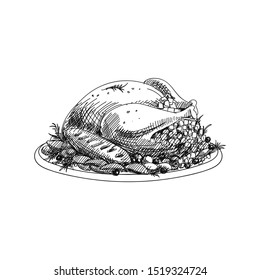 Roasted turkey hand drawn vector illustration. Thanksgiving dinner main course. Sketch design element isolated on white background. Baked chicken traditional dish ink pen freehand drawing