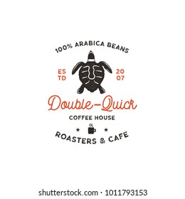 Roasters and cafe logo template with turtle, cup silhouette symbol. Wild animal icon. Coffee bar logotype, vintage hand drawn badge, label. Typography insignia. Stock vector isolated