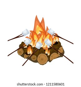 Roasting marshmallow on campfire isolated on white background. Cartoon vector illustration in flat style.