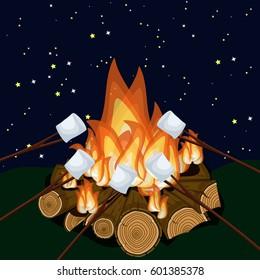 Roasting marshmallow on campfire at night. Cartoon vector illustration in flat style.