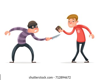 Robber Burglar Thief Robbery Steal Purse from Scared Helpless Guy Character Isolated Icon Cartoon Design Template Vector Illustration