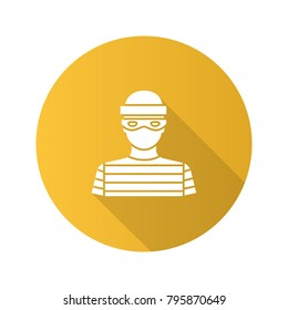Robber flat design long shadow glyph icon. Thief. Housebreaker. Vector silhouette illustration
