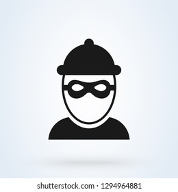Robber icon and Bandit mask. criminal man. vector illustration