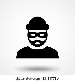 Robber icon. Bandit symbol isolated on white background. Vector illustration.