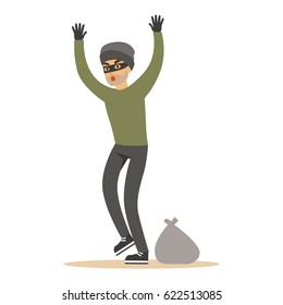 Robber man in black mask holding hands up. Colorful cartoon character vector Illustration