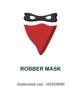 Robber Mask flat icon. Color simple element from wild west collection. Creative Robber Mask icon for web design, templates, infographics and more