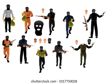 Robber in mask set, with money sacks and guns, vector, isolated on white