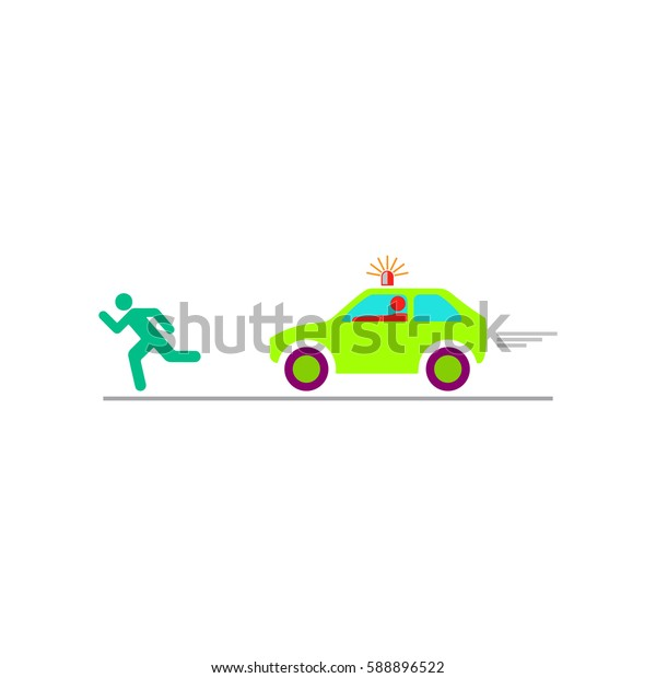 Robber and police car. Color symbol icon on white background. Vector illustration