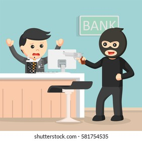 robber robbing bank color