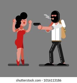 Robber robs a girl