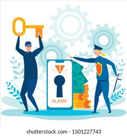 Robber Running Away with Stolen Key. Alarm Lock Sign on Phone Screen. Money Cash, Gold Coins. Policewoman with Club. Hacking Bank Account. Personal Data Internet Security. Vector Illustration