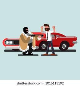 Robber steals a car