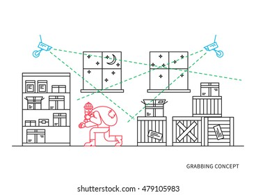 Robber in storehouse vector illustration. Video camera surveillance line art concept. Video camera control and security graphic design. Video monitoring to avoid robbery, theft. Thief under detection.