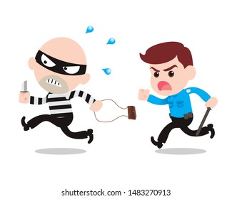 the robber take bag and running away from the policeman. vector illustration isolated cartoon