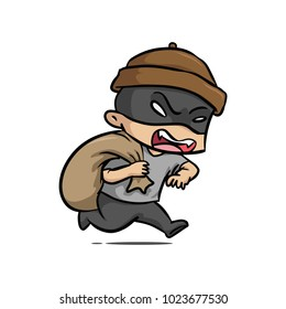 Robber thief hacker people vector illustration