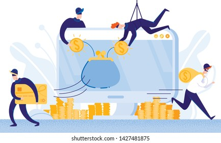 Robbers Steal Money from E-Banking System. Hackers Steal Money from Bank Cradit Cards. From Poverty to Wealth. Achive Goal. Vector Illustration. Bank Money System. Robbers in Mask. Online Wallet.