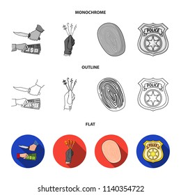 Robbery attack, fingerprint, police officer badge, pickpockets.Crime set collection icons in flat,outline,monochrome style vector symbol stock illustration web.