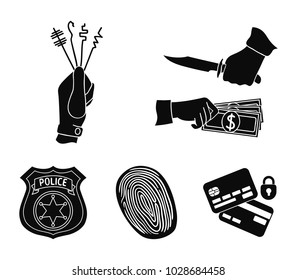 Robbery attack, fingerprint, police officer's badge, pickpockets.Crime set collection icons in black style vector symbol stock illustration web.