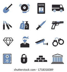 Robbery Icons. Two Tone Flat Design. Vector Illustration.