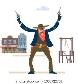 Robbery. Wild west. wild west gunslinger holding two guns.  Gunfighter isolated on white background. Vector flat cartoon illustration.
