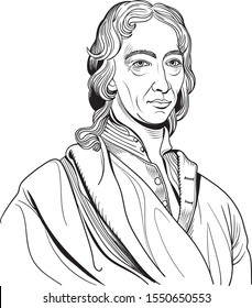 Robert Boyle cartoon portrait. He was an Irish philosopher, chemist, physicist and inventor.