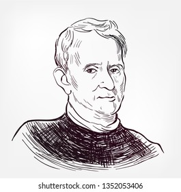 Robert Hooke vector portrait isolated sketch