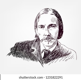 Robert Louis Stevenson novelist sketch style vector portrait