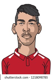 Roberto Bobby Firmino is Brazilian professional footballer who plays for Liverpool and the Brazil national team as forward or winger, Portrait  Freehand Drawing Illustration Vector. October 31, 2018