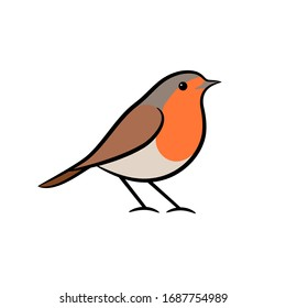 Robin bird cartoon vector illustration. Flat icon design.