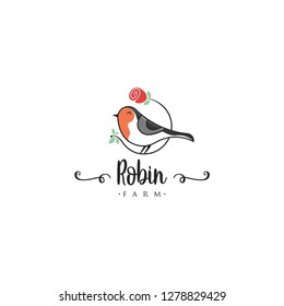 Robin bird logo template. Animal logo vector. Pet bird logo template