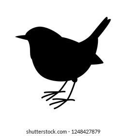 robin bird vector illustration,  black silhouette,profile view