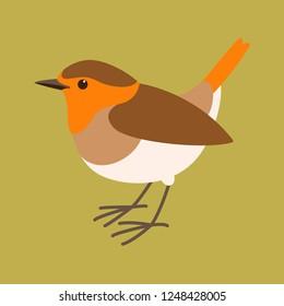 robin bird vector illustration, flat style,profile view