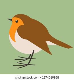 robin bird , vector illustration , flat style, profile view