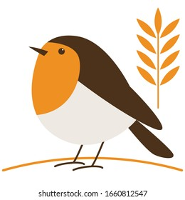 robin bird, vector illustration, flat style,profile side