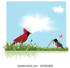 Robin and Cardinal spring background. EPS 10 vector, grouped for easy editing. No open shapes or paths.