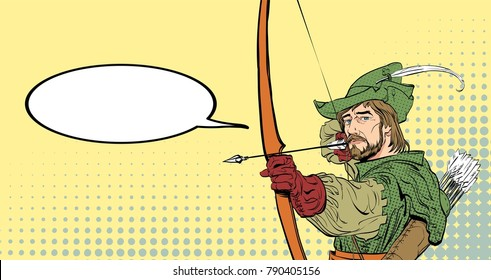 Robin Hood aiming on target. Robin Hood standing with bow and arrows. Defender of weak. Medieval legends. Heroes of medieval legends. Halftone background.