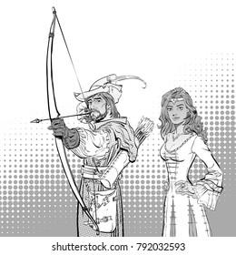 Robin Hood aiming on target. Medieval legends. Heroes of medieval legends. Lady in medieval dress.