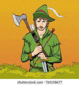 Robin Hood in a hat with feather. Young soldier. Noble robber. Defender of weak. Medieval legends. Heroes of medieval legends. Halftone background.