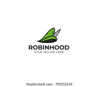 Robin hood hat logo template. Robinhood cap vector design. Medieval hat illustration
