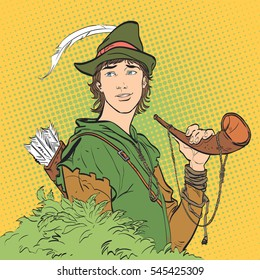 Robin Hood with a horn. Young soldier. Noble robber. Defender of weak. Medieval legends. Heroes of medieval legends.Halftone background. Retro style illustration. People in retro style.