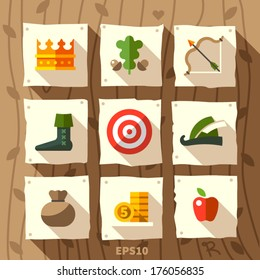 Robin Hood set of icons, with bow, clothing and money