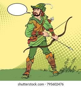 Robin Hood standing with bow and arrows. Robin Hood in ambush. Defender of weak. Medieval legends. Heroes of medieval legends. Halftone background.