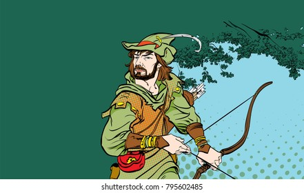 Robin Hood standing with bow and arrows. Robin Hood in ambush. Defender of weak. Medieval legends. Heroes of medieval legends. Halftone background.