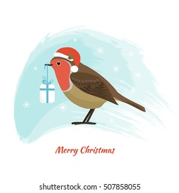 Robin, little bird with Santa Claus hat and a Christmas present. Vector illustration