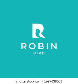 The robin logo is formed from the negative area of the letter R