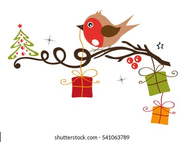 Robin on a branch with gifts, snow and christmas tree